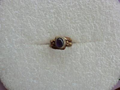 西藏老戒:三色銅.深色紫水晶