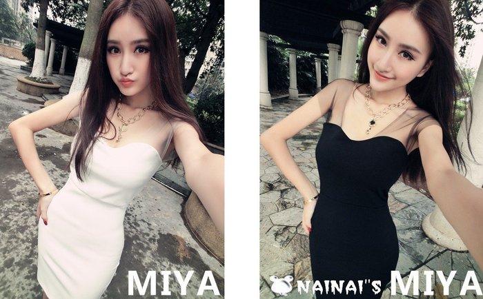 【NAINAIS】Olivia‧S 3518 韓版 夜店跑趴 網紗拼接短袖美肩抹胸洋裝 2色現+預