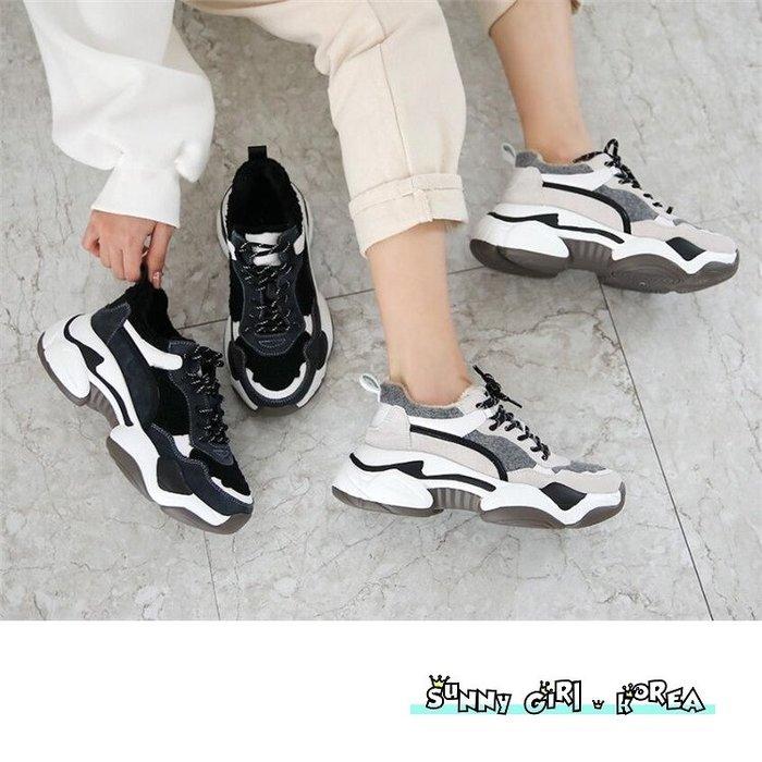 正韓老爹鞋*Sunny Girl*韓國代購加絨保暖撞色內增高休閒鞋 2019十二月新款 - [WH1422]