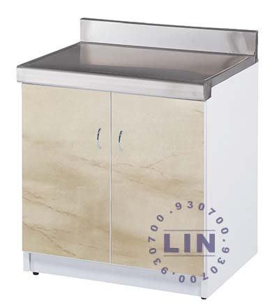 【品特優家具倉儲】R1501-04流理台平檯雙開門-塑鋼
