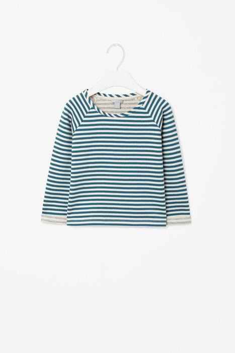 *小豆仔的屋Dou Dou House*德國歐洲進口COS童裝/條紋運動休閒上衣T恤-藍綠色-(現貨)