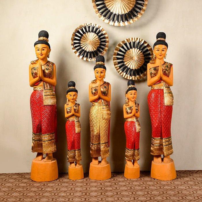 裝飾擺件 裝飾品 異麗東南亞餐廳美容院裝飾品泰國木雕迎賓民宿客棧門口工藝品擺件
