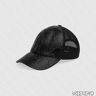 【WEEKEND】 GUCCI Logo壓紋 皮革 棒球帽 鴨舌帽 帽子 網帽 男女同款 627156