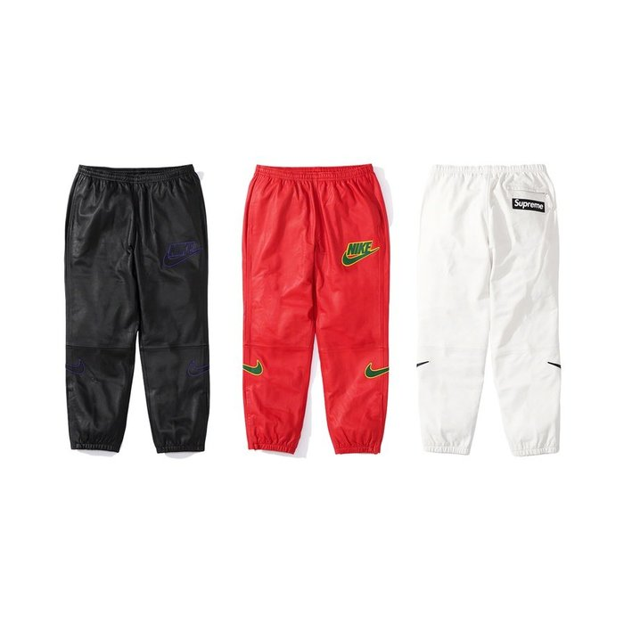 【紐約范特西】預購 Supreme FW19 X Nike Leather Warm Up Pant 皮革 長褲