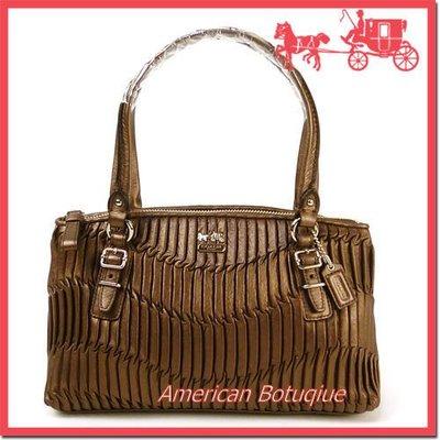 【美國精品館】COACH 45928 Madison Gathered Leather Small Bag (咖啡金) 專櫃 皺摺 手提/側肩包~4,680
