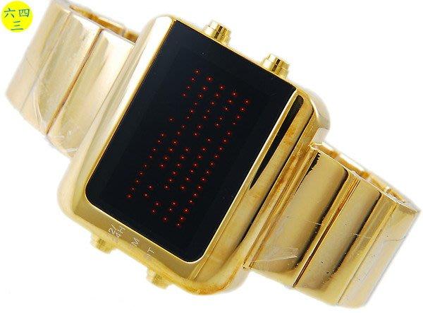 (六四三精品)黃金色時尚新潮冷光85顆LED高亮顯示面板 日韓潮爆電子精準錶!