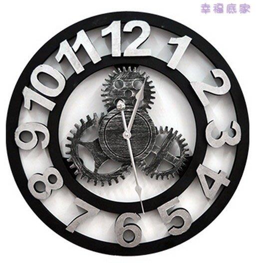 時鐘/圓形鐘/壁鐘/齒輪造型/粗曠設計/銀色/佈置/刷舊/工業風loft/簡約/民宿/居家/♡♡幸福底家♡