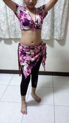 肚皮舞舞衣(粉紫花朵白葉圖案)