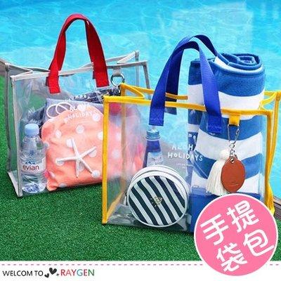 八號倉庫 夏日沙灘透明手提袋 游泳包 防水收納袋【2C015M800】