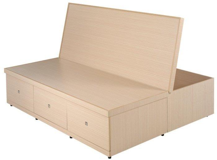 《T3》五呎上掀三抽屜床底(圖一) 六分木心板台灣製可訂做.備有3.5尺6尺6X7尺白色白橡胡桃梧桐雪松三毛櫸柚木色可選