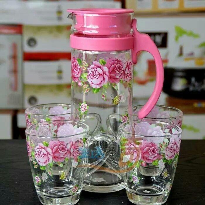 粉紅玫瑰精品屋~韓國進口ocean品牌印花玻璃凉水壼杯套裝~