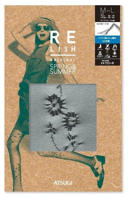 【拓拔月坊】厚木 Relish ORIGINAL 花朵側紋小網 絲襪 日本製~現貨!