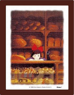 日本正版拼圖 吉卜力 宮崎駿 魔女宅急便  黑貓吉吉 魔女琪琪 麵包店 附框及腳架 150片迷你塑膠拼圖,MA-11