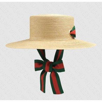 米蘭二手 GUCCI Papier Wide Brim 編織 緞帶 帽子 草編帽 米色 577012