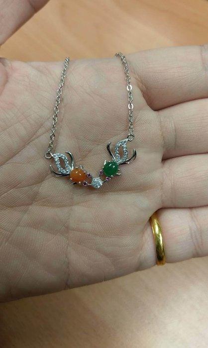 {沐玉翡翠}天然緬甸翡翠 金魚 鎖骨鏈925銀飾珠寶