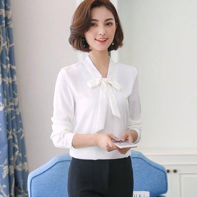 女 長袖 襯衫 雪紡 韓版 V領 氣質...