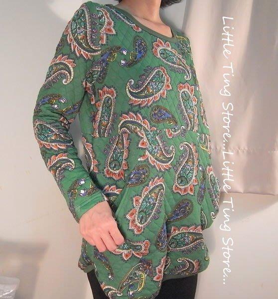 中大尺碼 懷舊變形蟲顯瘦棉襖服厚圓領棉衫 保暖加厚棉菱格寬鬆大碼T恤 左右口袋