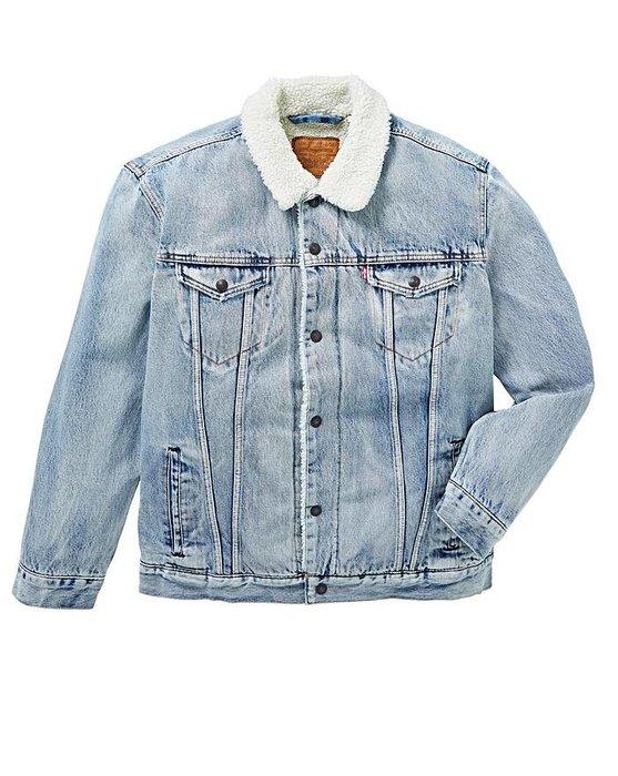 【羊絨裡毛領XS-XXL號】美國LEVI S Sherpa Trucker Jacket 水洗淺藍鋪棉袖牛仔外套保暖夾克