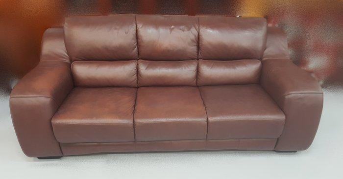 【宏品二手家具】 家電 中古家具 B62803酒紅色三人座皮沙發/桌椅/茶几/高低櫃/客廳傢俱大出清