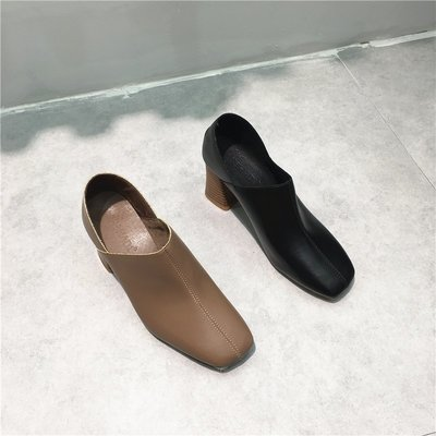 Sarah  實拍英倫風女粗跟軟皮高跟靴一腳蹬薄軟皮方頭及裸靴mishadi