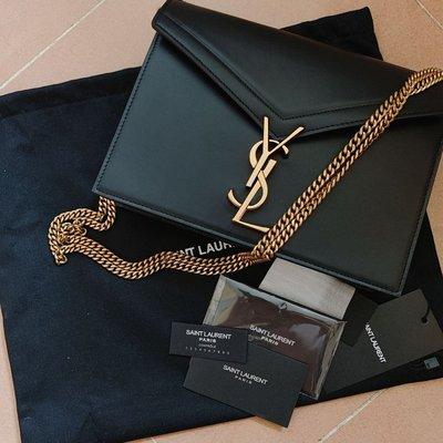 YSL cassandra vintage gold chain bag名牌黑色牛皮真皮手袋 側揹袋 斜揹袋 鏈袋 joyce lv maje sandro