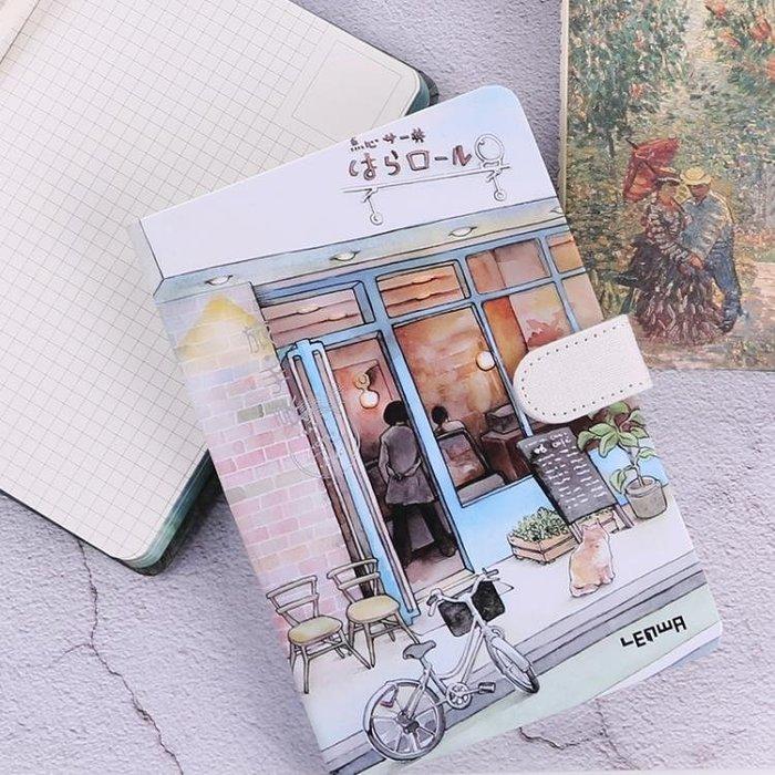 32K手繪小清新彩頁插畫手賬本韓國創意簡約復古日記本磁扣筆記本