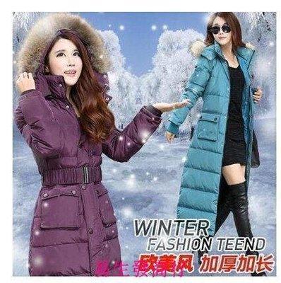 【易生發商行】冬季女式韓版中長款羽絨服 胖MM加厚大碼修身中款大毛領F6056