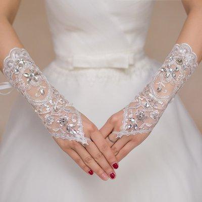 婚禮禮服手套新娘婚紗手套婚紗配飾結婚手套蕾絲短款白色露指手套新品