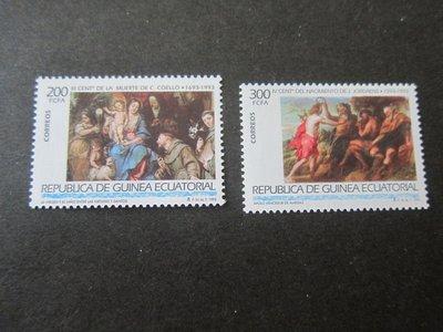 【雲品】赤道幾內亞Equatorial Guinea 1993 Sc 176-7 Christmas Religion set MNH