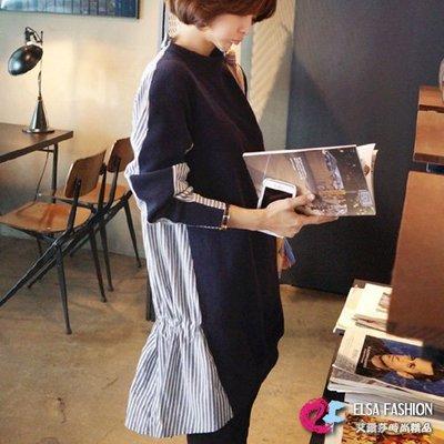 條紋拼接洋裝 時尚後立領綁帶收腰拼接豎條紋連身裙 艾爾莎【TAK2788】