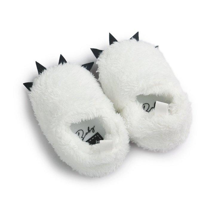 森林寶貝屋~白色怪獸爪子鞋~學步鞋~保暖鞋~寶寶鞋~嬰兒鞋~童鞋~學走鞋~鬆緊帶設計~彌月贈禮~特價
