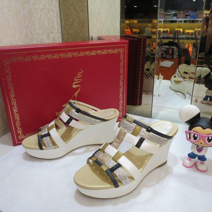 典精品名店 Rene Caovilla  真品 水鑽 高鞋 涼鞋 拖鞋 尺寸 36.5 現貨