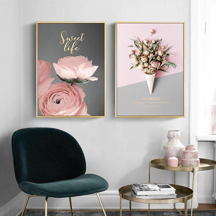 北歐現代小清新粉色花卉海景火烈鳥臥室裝飾畫芯高清微噴打印(7款可選)
