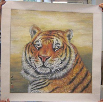 『府城畫廊-手繪國畫』老虎-工筆畫-78x78-(可加框)-有實體店面-請查看關於我聯繫-