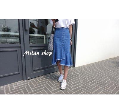 ☆Milan Shop☆網路最低價 正韓Korea獨家款 超美俏臀彈性腰不規則魚尾牛仔裙S~L$890(免運)