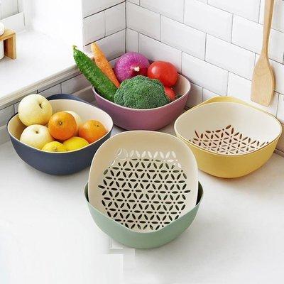 果盤雙層塑料洗菜盆瀝水籃 廚房洗菜籃水果籃子水果盤家用果盆