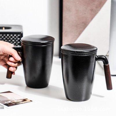 有一間店-陶瓷創意馬克杯帶蓋帶過濾網 木質手柄水杯禮盒套裝 家用辦公禮品(規格不同 價格不同)