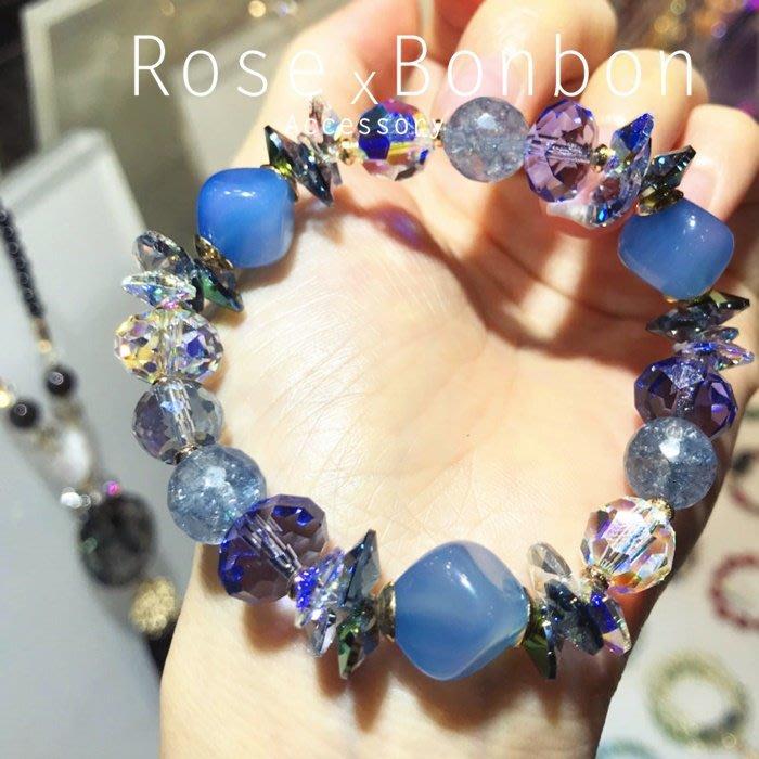 日本原創藍色瑪瑙奧地利水晶手鍊 髮晶手串 紫色水晶手環 送禮 情人生日禮 Rose Bonbon G4HA05