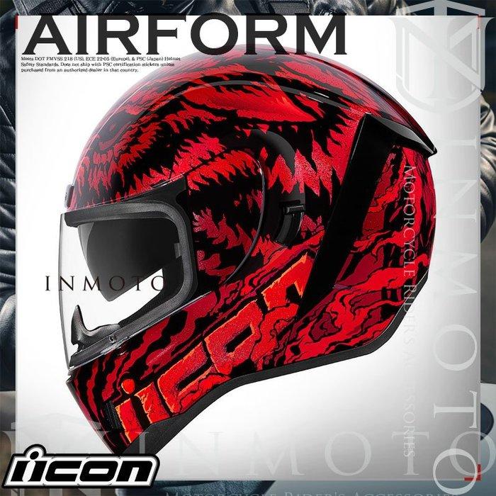 伊摩多※美國 iCON AIRform LYCAN  狼人 紅 全罩小帽體 安全帽 內墨片 2色 0101-12643