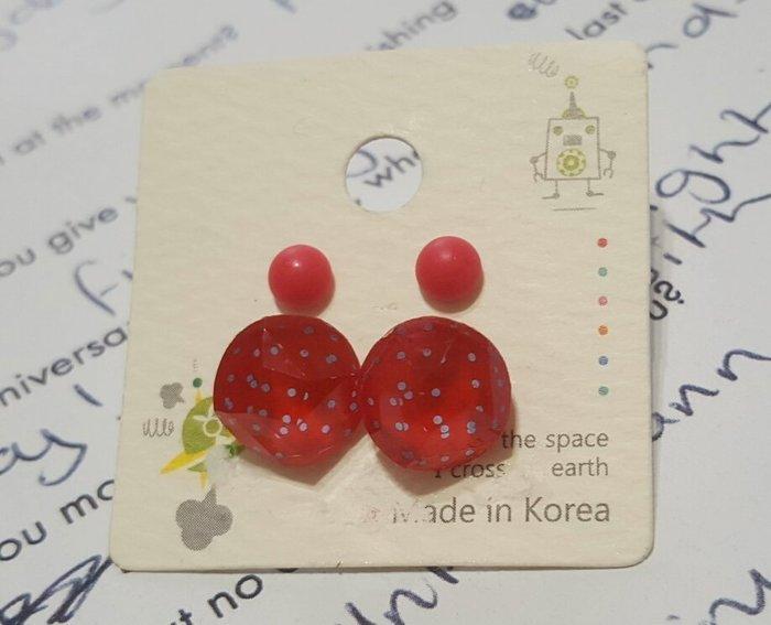 ☆特賣☆正韓 點點 dot造型 小紅耳環 可愛 她很漂亮