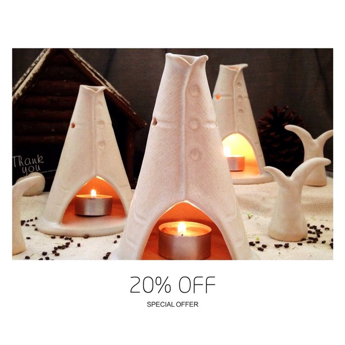 [U'NIDO] 原創手作 限量手捏陶森林印地安帳篷燈-緞面白/ 療癒放鬆/ 薰香燭台/ 暖心禮物/ 情人節/ 聖誕禮物