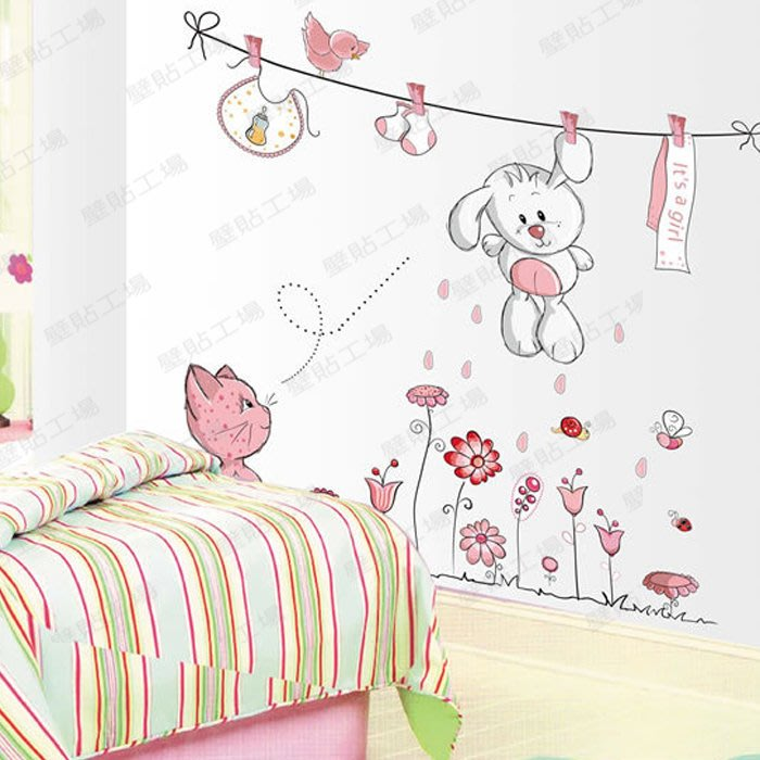 壁貼工場-可超取 三代大號壁貼 壁貼 貼紙  卡通兔寶寶 花  JM8352