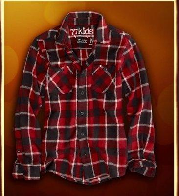 (嫻嫻屋)現貨AE 美國 77kids帥氣型男bright plaid flannel shirt亮系紅色格文襯衫12t American Eagle