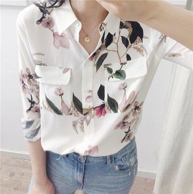 《巴黎拜金女》印花口袋真絲襯衣優雅大氣長袖蠶絲襯衫