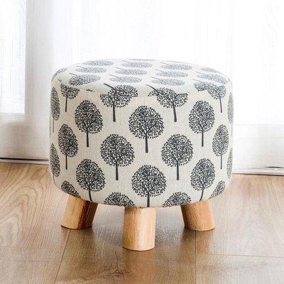折扣店 換鞋凳現代簡約小矮凳實木圓凳創意門口穿鞋凳子布藝沙髮凳