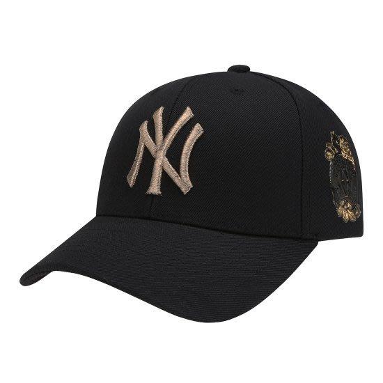 【韓Lin連線代購】韓國 MLB - YN金色LOGO玫瑰刺繡黑色棒球帽 ROSE SERIES EMBROIDERY