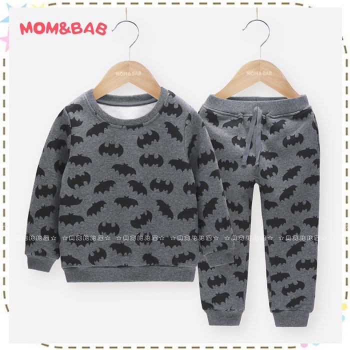 貝克比比屋☆秋冬 mom and bab 滿印蝙蝠內抓絨刷毛長袖套裝/休閒套裝*3T、4T、5T、6T、7T
