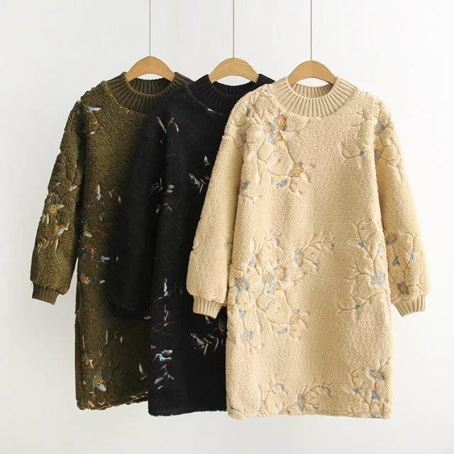 (老銀屋)冬裝設計新款刺繡羊羔毛保暖女裝
