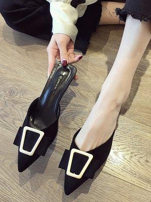 小尤家~涼拖鞋女外穿ins拖鞋夏網紅包頭高跟鞋韓版百搭金屬方扣涼鞋