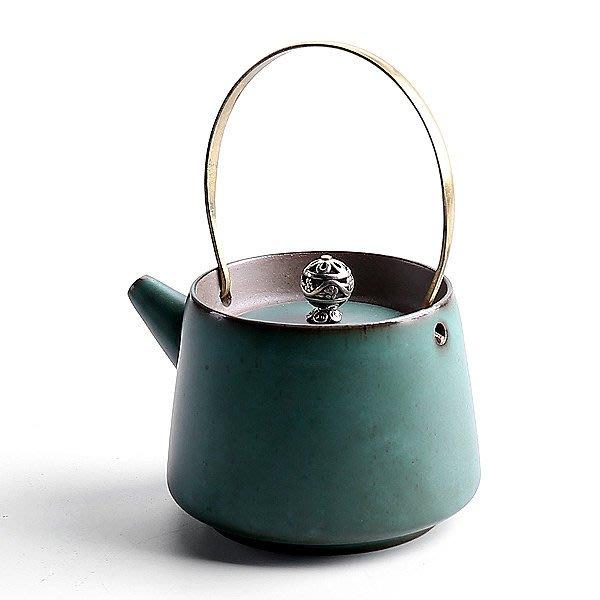 5Cgo【茗道】含稅會員有優惠 537492718226 提梁壺日式創意功夫茶具粗陶涼水壺普洱壺泡茶單壺陶瓷茶壺